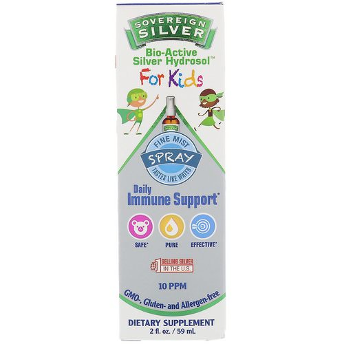 Sovereign Silver, Bio-Active Silver Hydrosol, For Kids, Daily Immune Support Spray, 2 fl oz (59 ml) Review