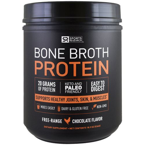 Sports Research, Bone Broth Protein, Chocolate, 1.18 lbs (536 g) Review