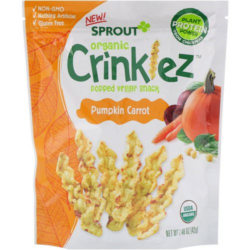 Sprout Organic, Crinklez, Popped Veggie Snack, Pumpkin Carrot, 1.48 oz (42 g) Review