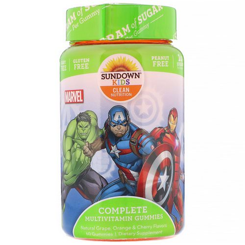 Sundown Naturals Kids, Complete Multivitamin Gummies, Marvel Avengers, Natural Grape, Orange & Cherry, 60 Gummies Review