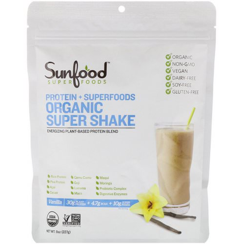 Sunfood, Protein + Superfoods, Organic Super Shake, Vanilla, 8 oz (227 g) Review