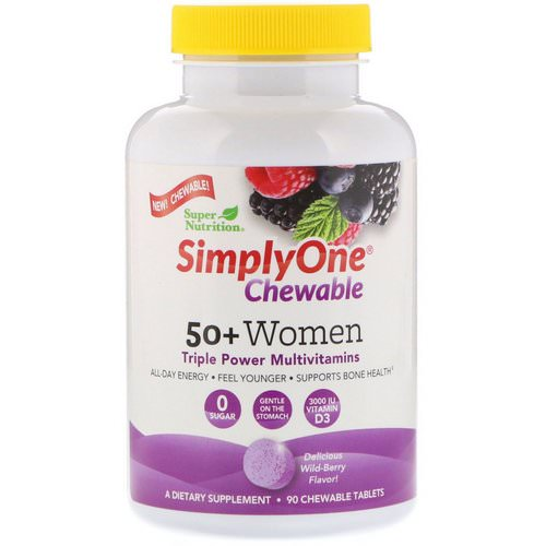 Super Nutrition, SimplyOne, 50+ Women, Triple Power Multivitamin, Wild-Berry Flavor, 90 Chewable Tablets Review