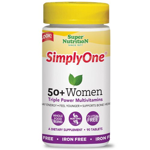 Super Nutrition, SimplyOne, 50+ Women Triple Power Multivitamins, Iron Free, 90 Tablets Review