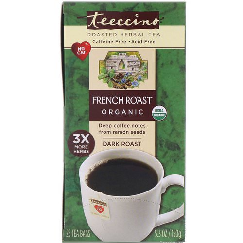 Teeccino, Organic Roasted Herbal Tea, French Roast, Dark Roast, Caffeine Free, 25 Tea Bags, 5.3 oz (150 g) Review