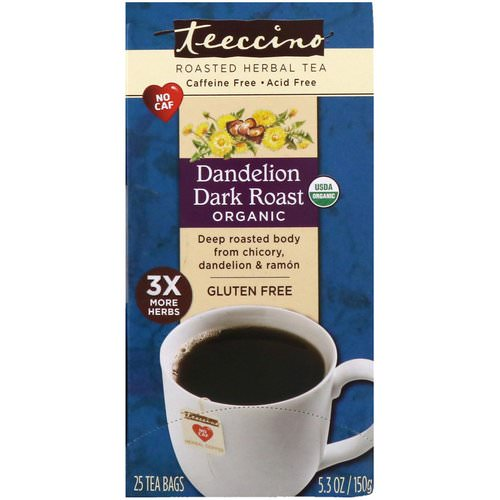 Teeccino, Organic Roasted Herbal Tea, Dandelion Dark Roast, Caffeine Free, 25 Tea Bags, 5.3 oz (150 g) Review