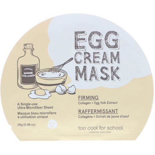 Too Cool for School, Egg Cream Mask, Firming, 1 Sheet, 0.98 oz (28 g) Review