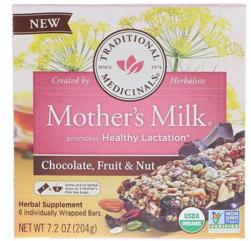 Traditional Medicinals, Mother's Milk, Chocolate, Fruit, & Nut, 6 Individually Wrapped Bars, 7.2 oz (204 g) Review
