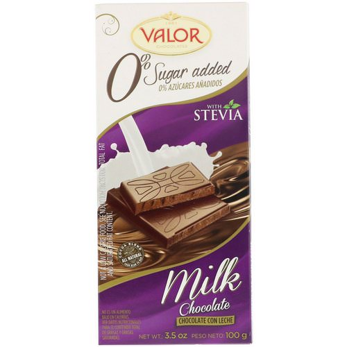 Valor, Milk Chocolate Bar with Stevia, 0% Sugar Added, 3.5 oz (100 g) Review