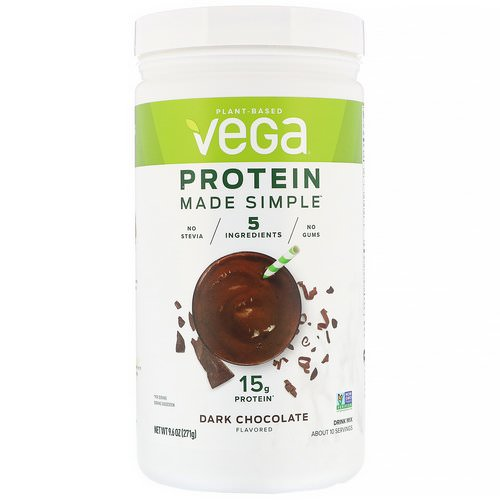 Vega, Protein Made Simple, Dark Chocolate, 9.6 oz (271 g) Review