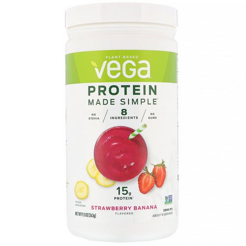 Vega, Protein Made Simple, Strawberry Banana, 9.3 oz (263 g) Review