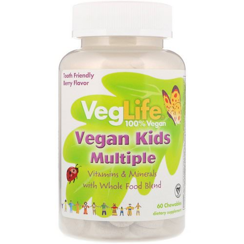 VegLife, Vegan Kids Multiple, Berry Flavor, 60 Chewables Review
