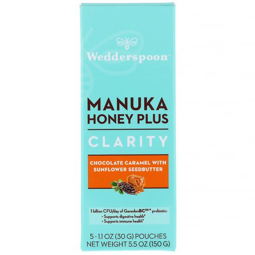 Wedderspoon, Manuka Honey Plus, Clarity, Chocolate Caramel with Sunflower Seedbutter, 5 Pouches, 1.1 oz (30 g) Each Review