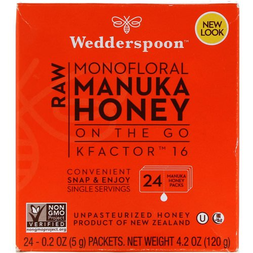 Wedderspoon, Raw Monofloral Manuka Honey, On the Go, KFactor 16, 24 Packs, 0.2 oz (5 g) Each Review