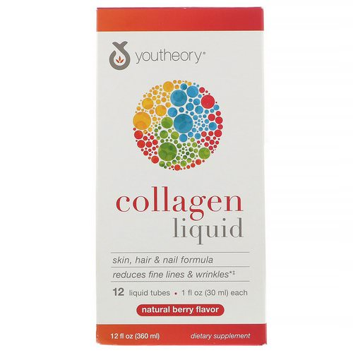Youtheory, Liquid Collagen, Natural Berry, 12 Liquid Tubes, 1 fl oz (30 ml) Each Review