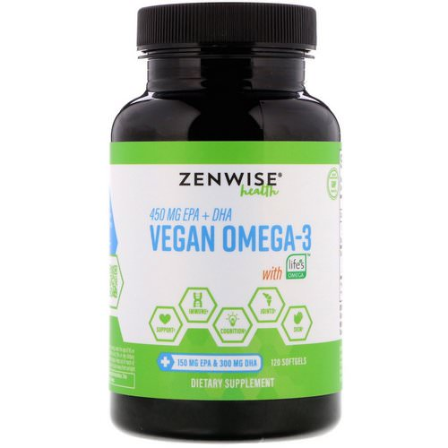 Zenwise Health, Vegan Omega-3 with Life's Omega, 120 Softgels Review