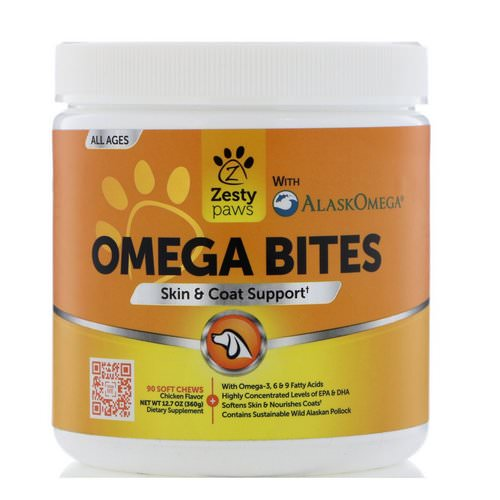 Zesty Paws, Omega Bites for Dogs, Skin & Coat Support, All Ages, Chicken Flavor, 90 Soft Chews Review